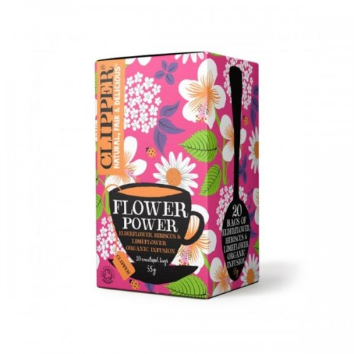 Clipper Flower Power Elderflower Hibiscus Limeflower Tea - Clipper Flower Power Elderflower Hibiscus Limeflower Tea 20 Bags