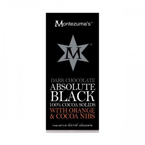 Montezumas - Montezumas Absolute Black 100% Cocoa Nibs & Orange Bar 100g x 12